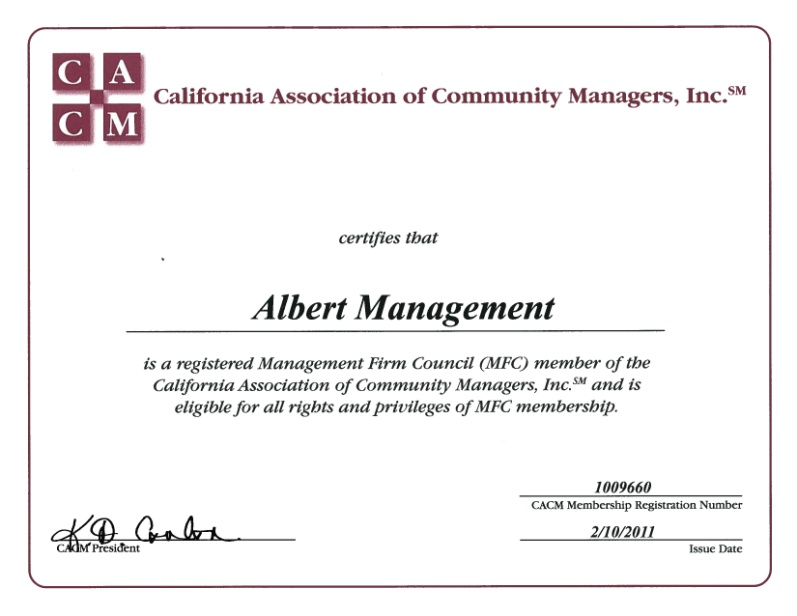 California Association of Community Managers Member Certificate